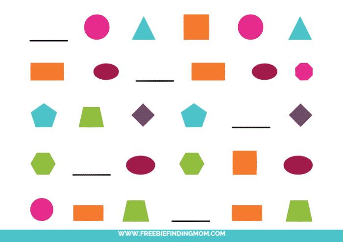 printable shape pattern worksheets for kindergarten pdf color