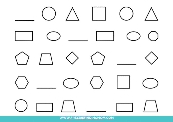 printable shape pattern worksheets for kindergarten pdf
