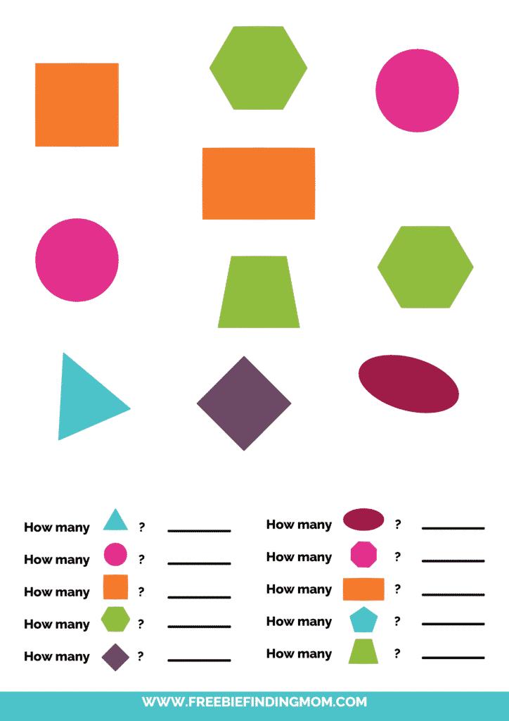 printable shapes worksheets for kindergarten pdf color