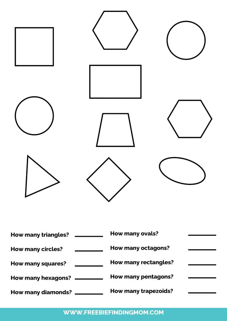 printable shapes worksheets for kindergarten pdf words
