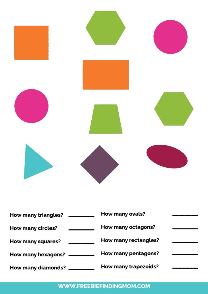 printable shapes worksheets for kindergarten pdf words color