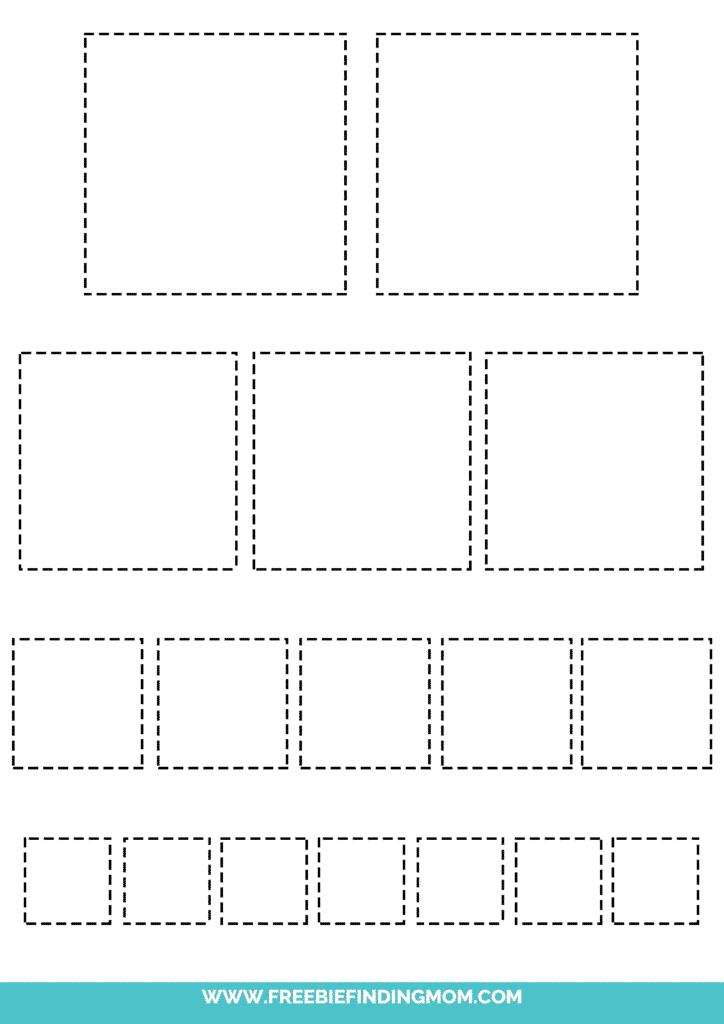 printable square tracing worksheets