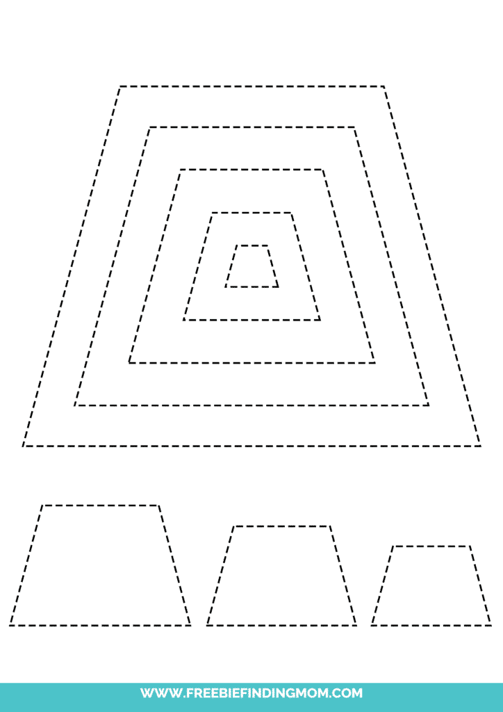 printable trapezoid shape tracing worksheets
