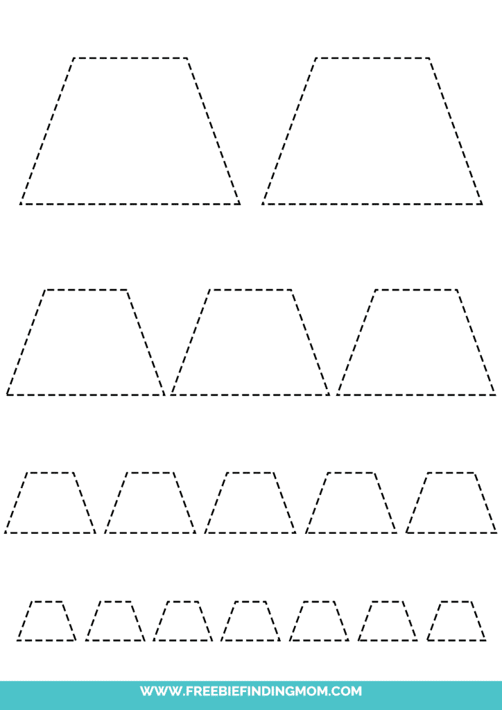 printable trapezoid tracing worksheets