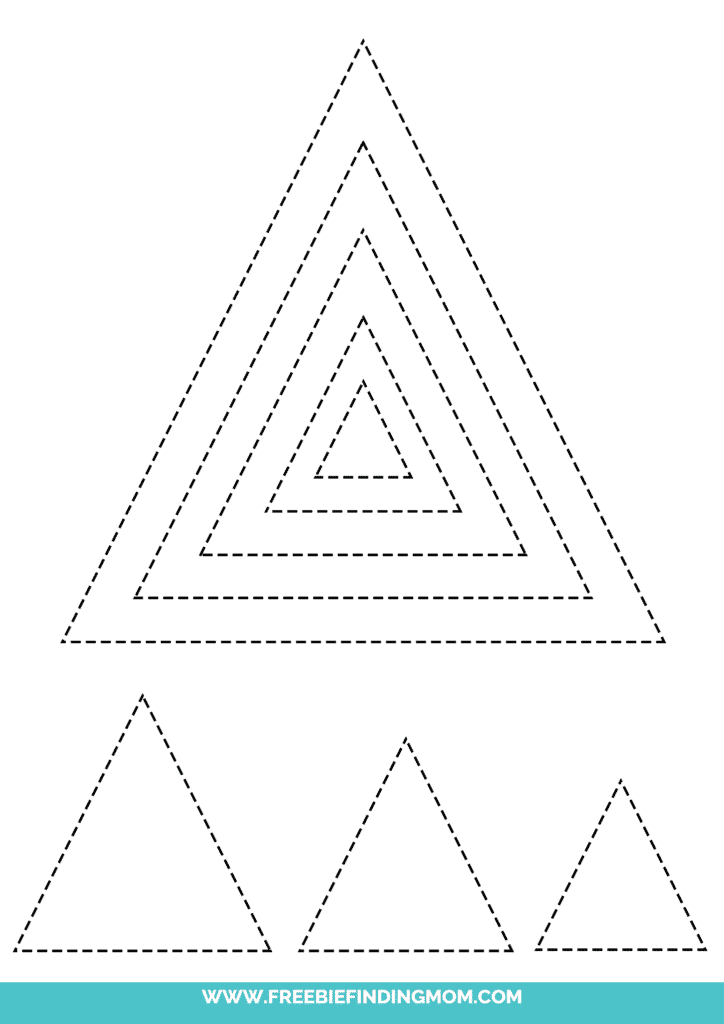 printable triangle shape tracing worksheets