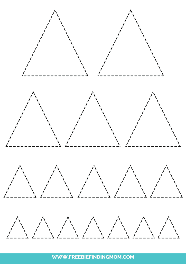 printable triangle tracing worksheets