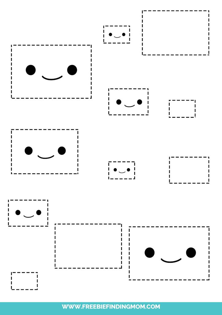 rectangle printable tracing shapes preschool worksheets pdf