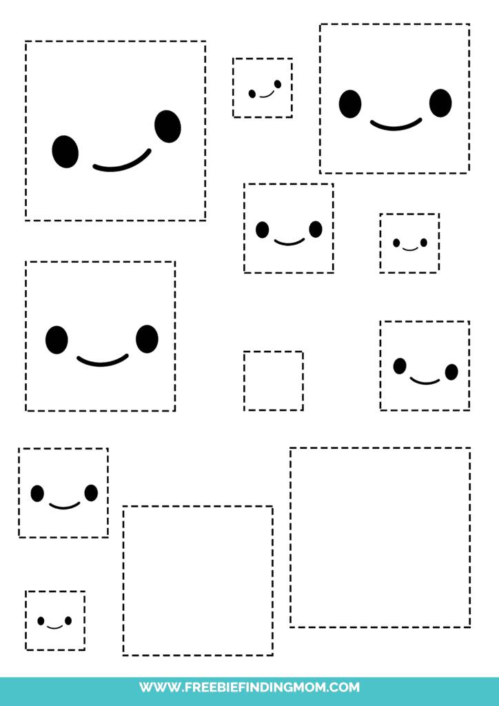 square printable tracing shapes preschool worksheets pdf