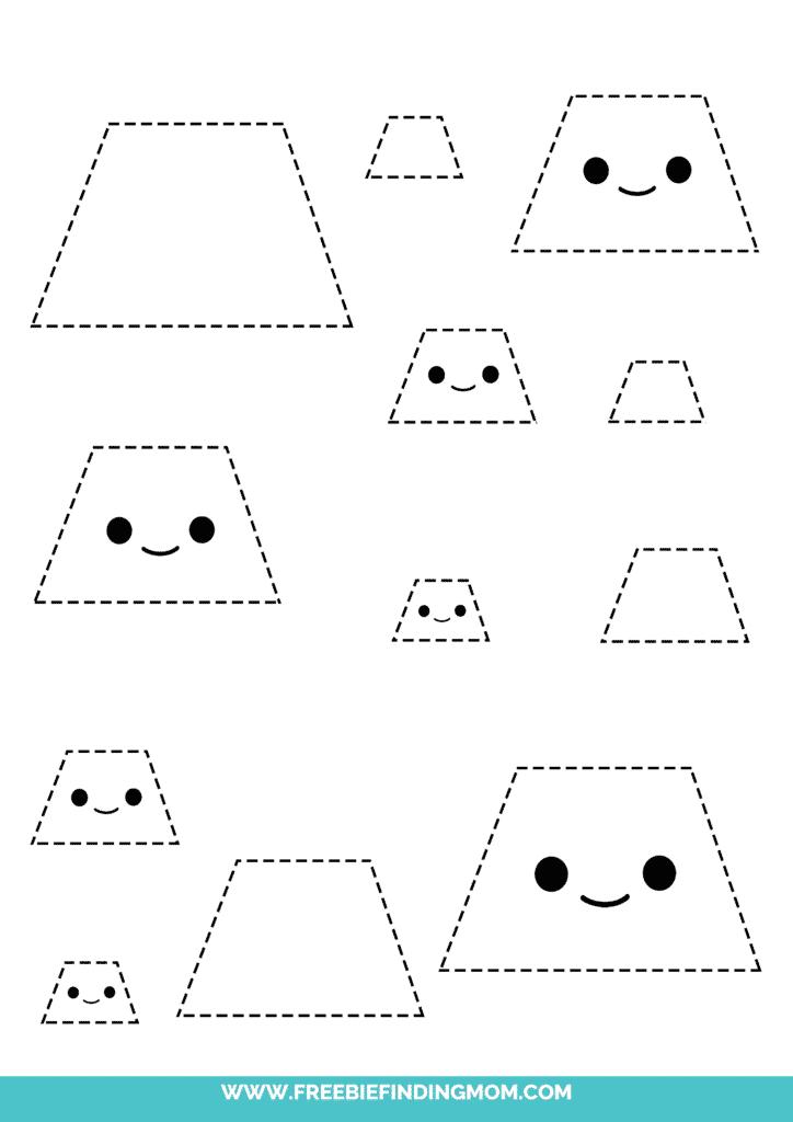 trapezoid printable tracing shapes preschool worksheets pdf