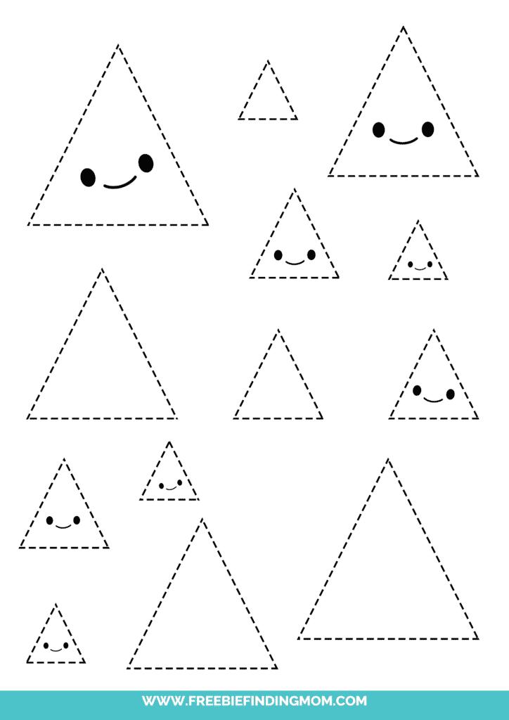 triangle printable tracing shapes preschool worksheets pdf