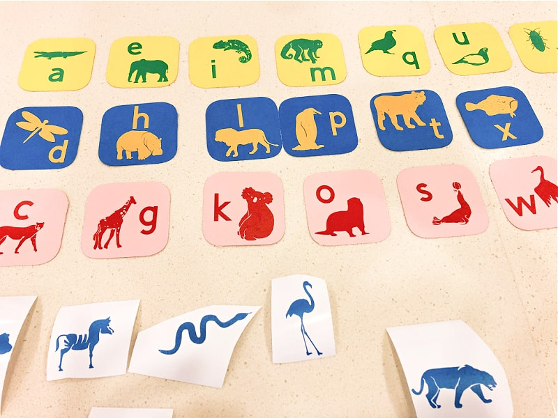 Affix the animals and letters to the cardstock playing cards.