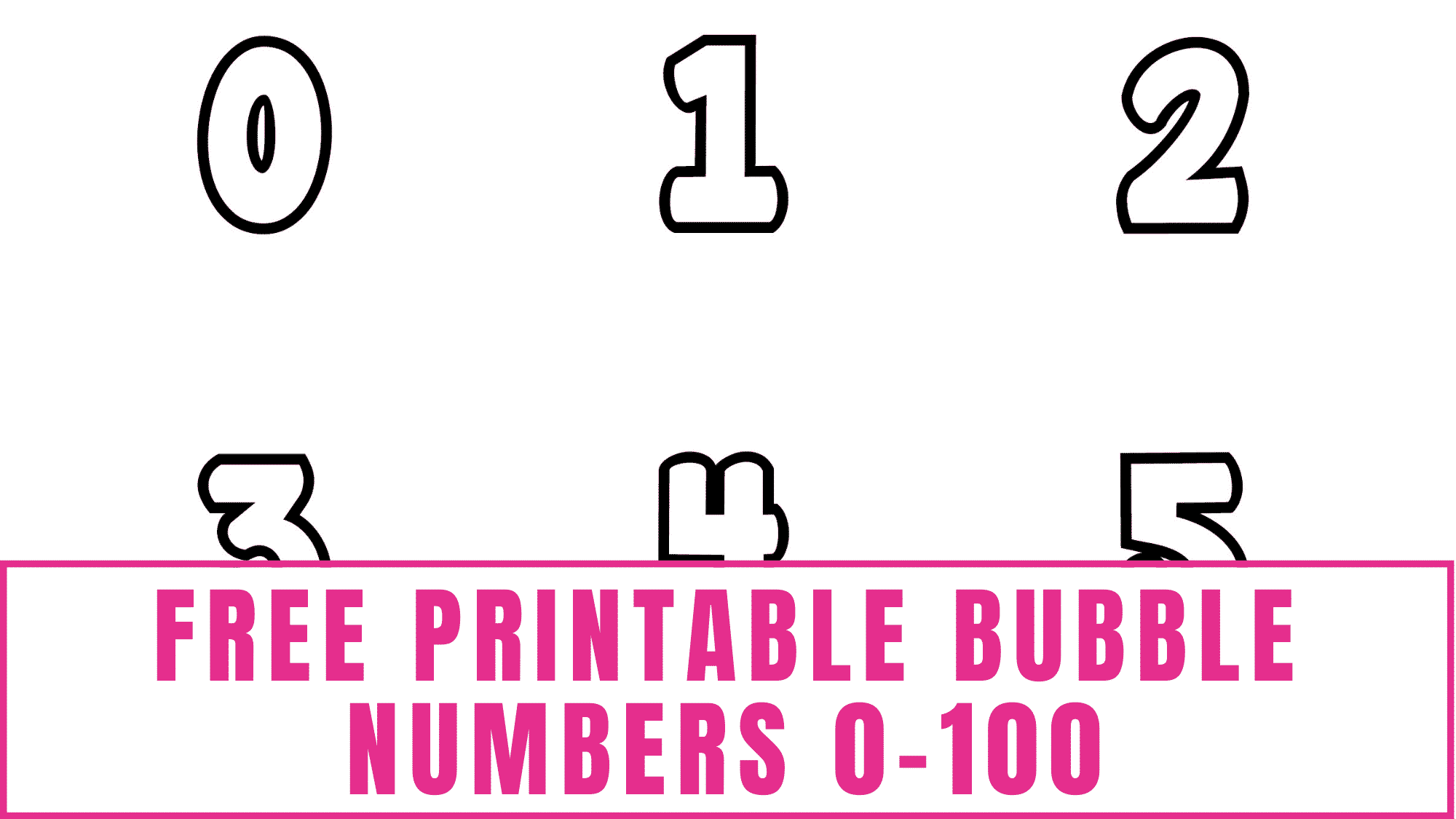 These free printable bubble numbers 0-100 will come in handy for many things like school projects, homeschooling, teaching kids how to count numbers and write numbers, craft projects, scrapbooking and more!
