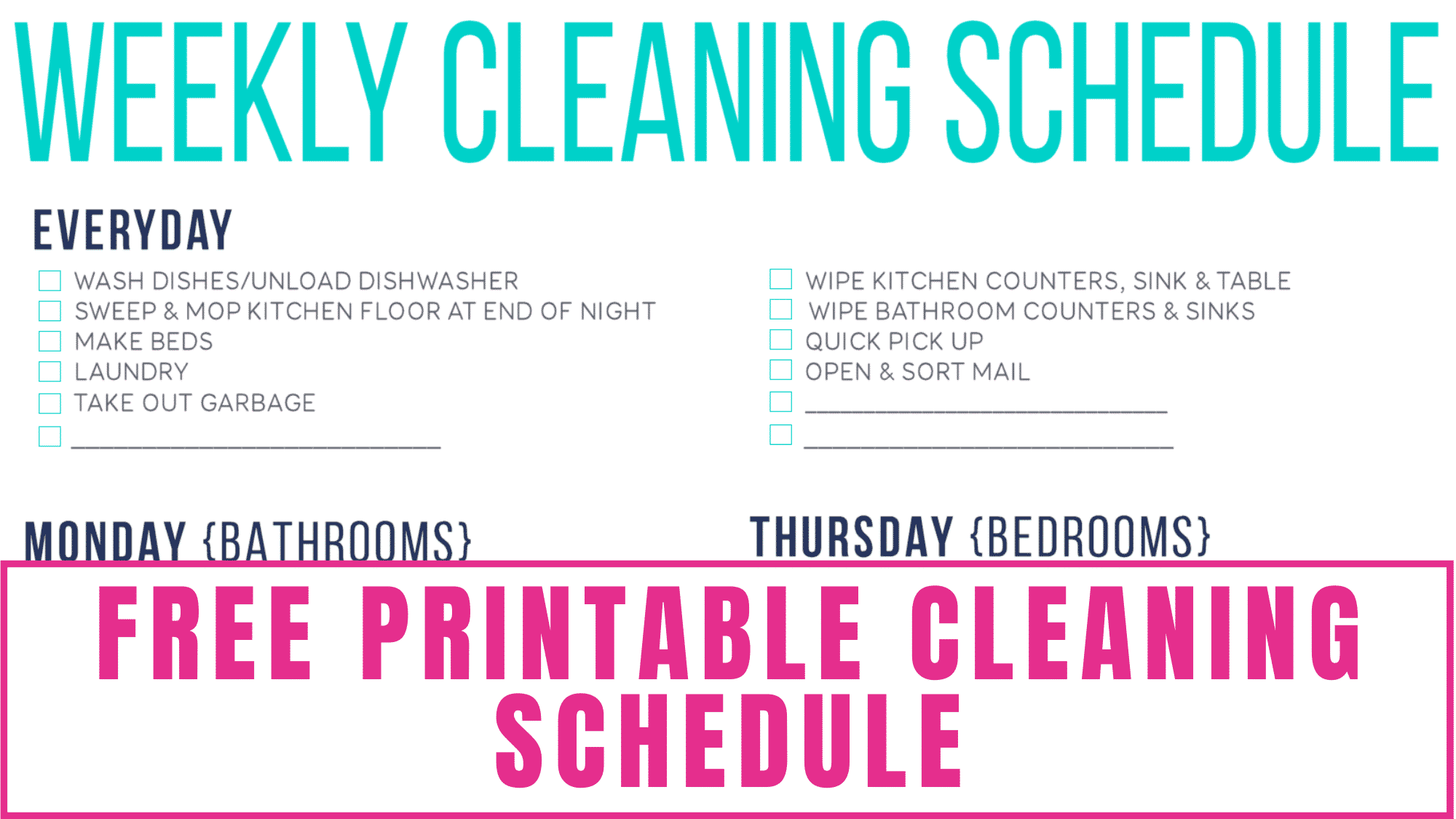 Need help figuring out when to do which cleaning task? This free printable cleaning schedule can help! It lists everyday cleaning responsibilities along with daily tasks by day so you don't get overwhelmed on any one day.