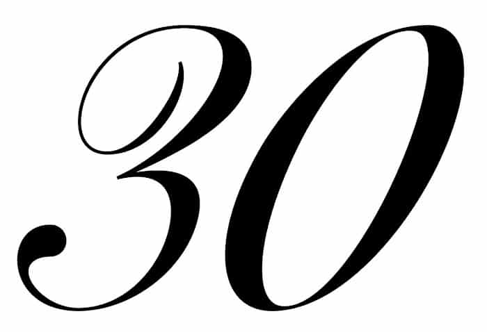 free printable fancy calligraphy numbers calligraphy number 30