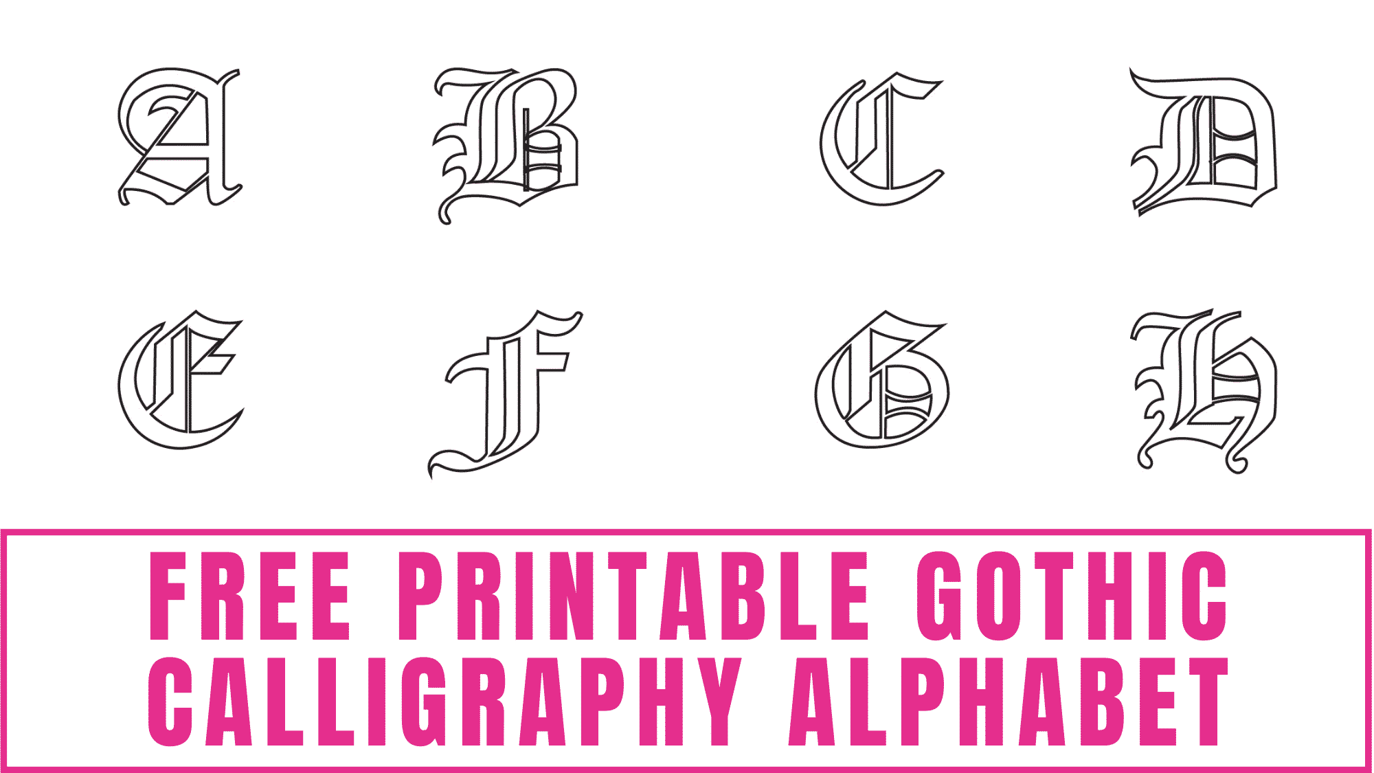 Learning how to draw gothic letters can be difficult because there are a lot of details, but when you start by tracing letters like this free printable gothic calligraphy alphabet it will become easier.