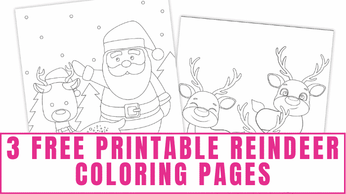 What kid wouldn't love coloring Santa and Rudolph in these free printable reindeer coloring pages.