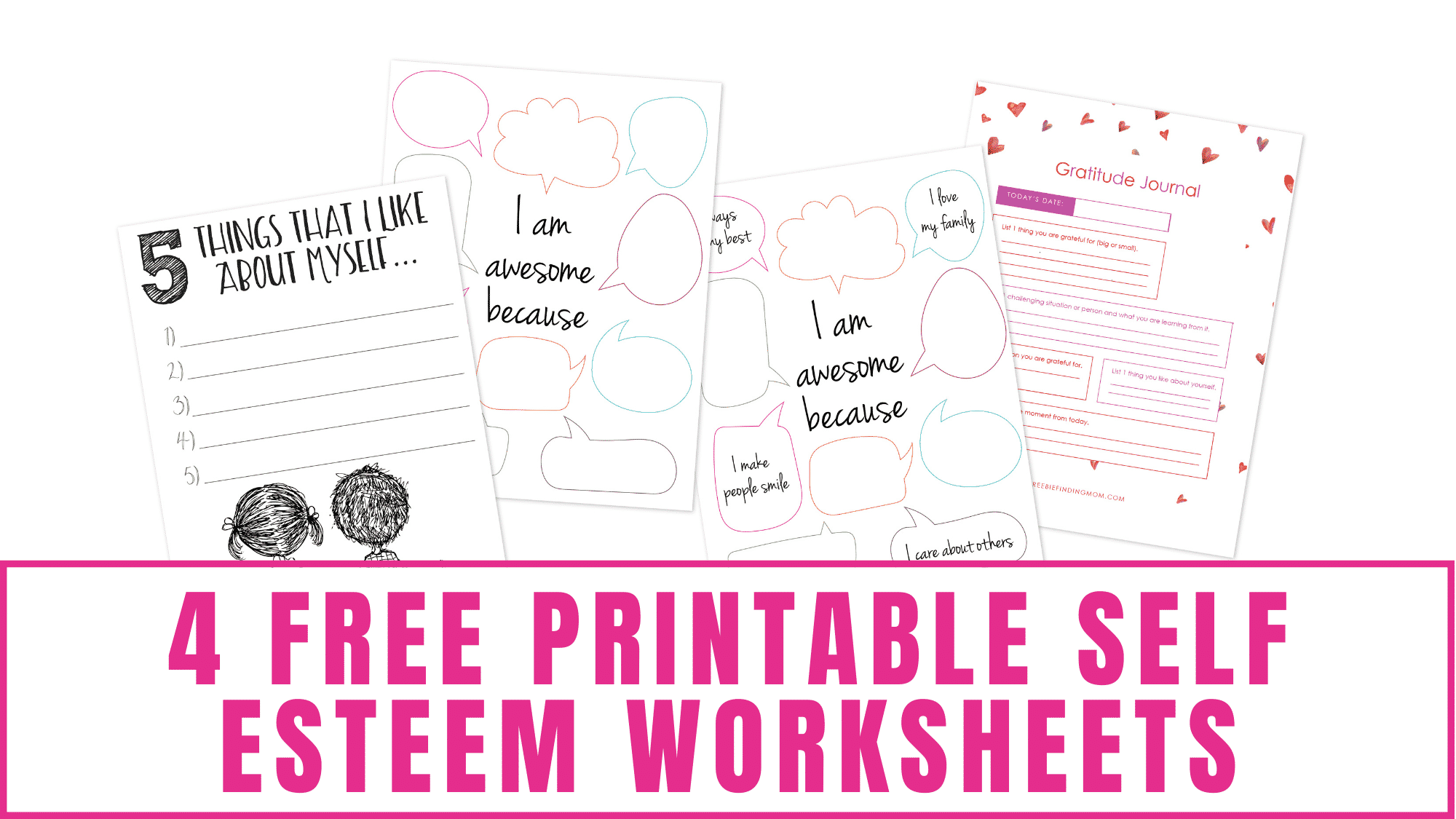 Does someone you know (or yourself) need to work on self-esteem? Simple actions like completing one of these free printable self esteem worksheets can improve your mood, affect your gratitude, and build your self-confidence.