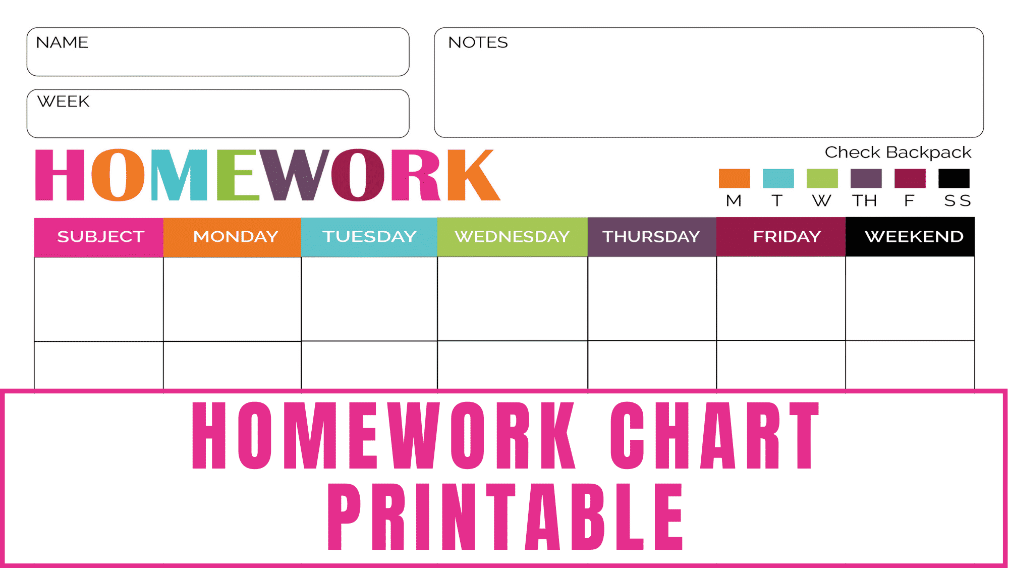 Whether you have a conscientious student or a student who often forgets their homework, this homework chart printable will come in handy.