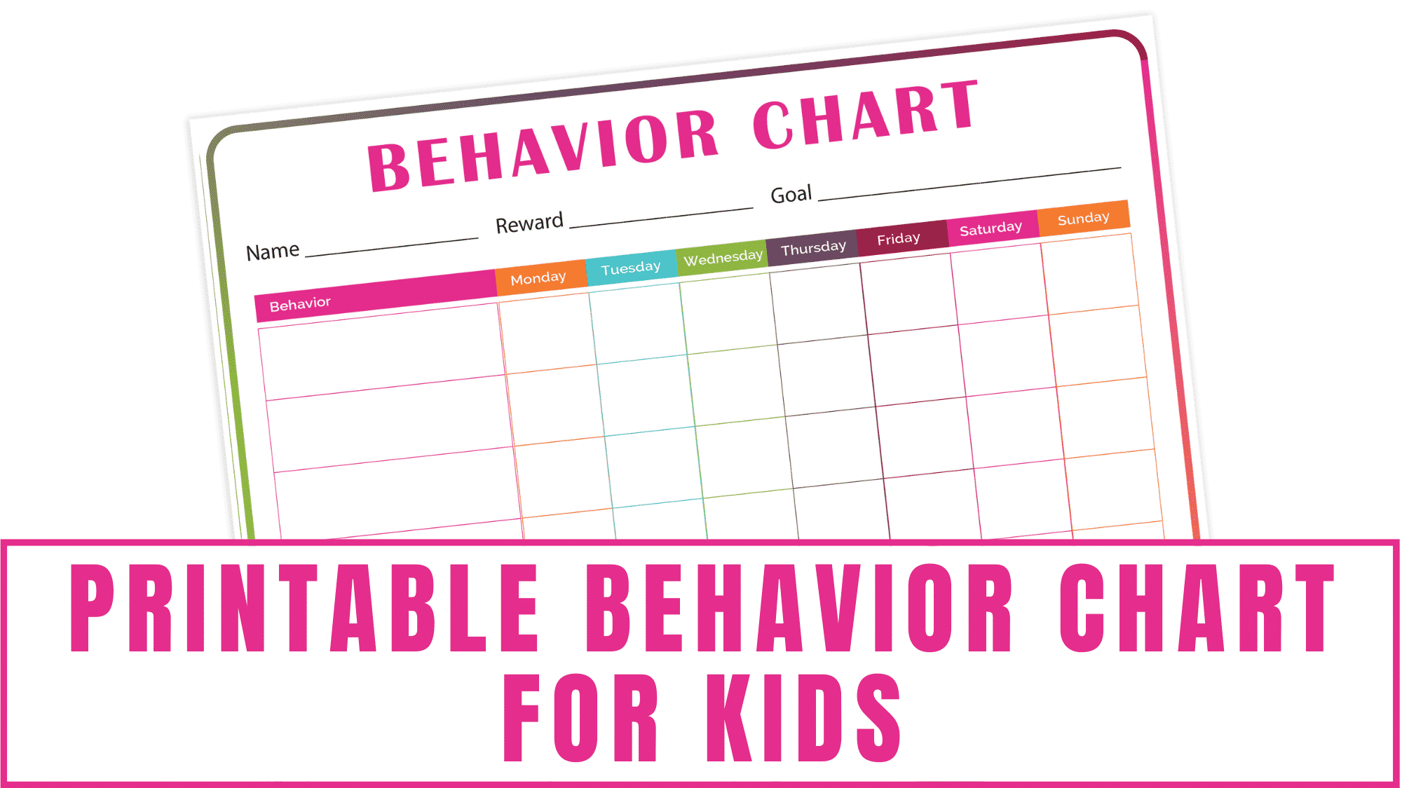If you want a fun way to encourage your kids to change their behavior or routine then you should implement this printable behavior chart for kids. This printable behavior chart allows you record and track specific behaviors or chores you want your kid to do. It also allows you to record a reward for your kid once they reach their goal.