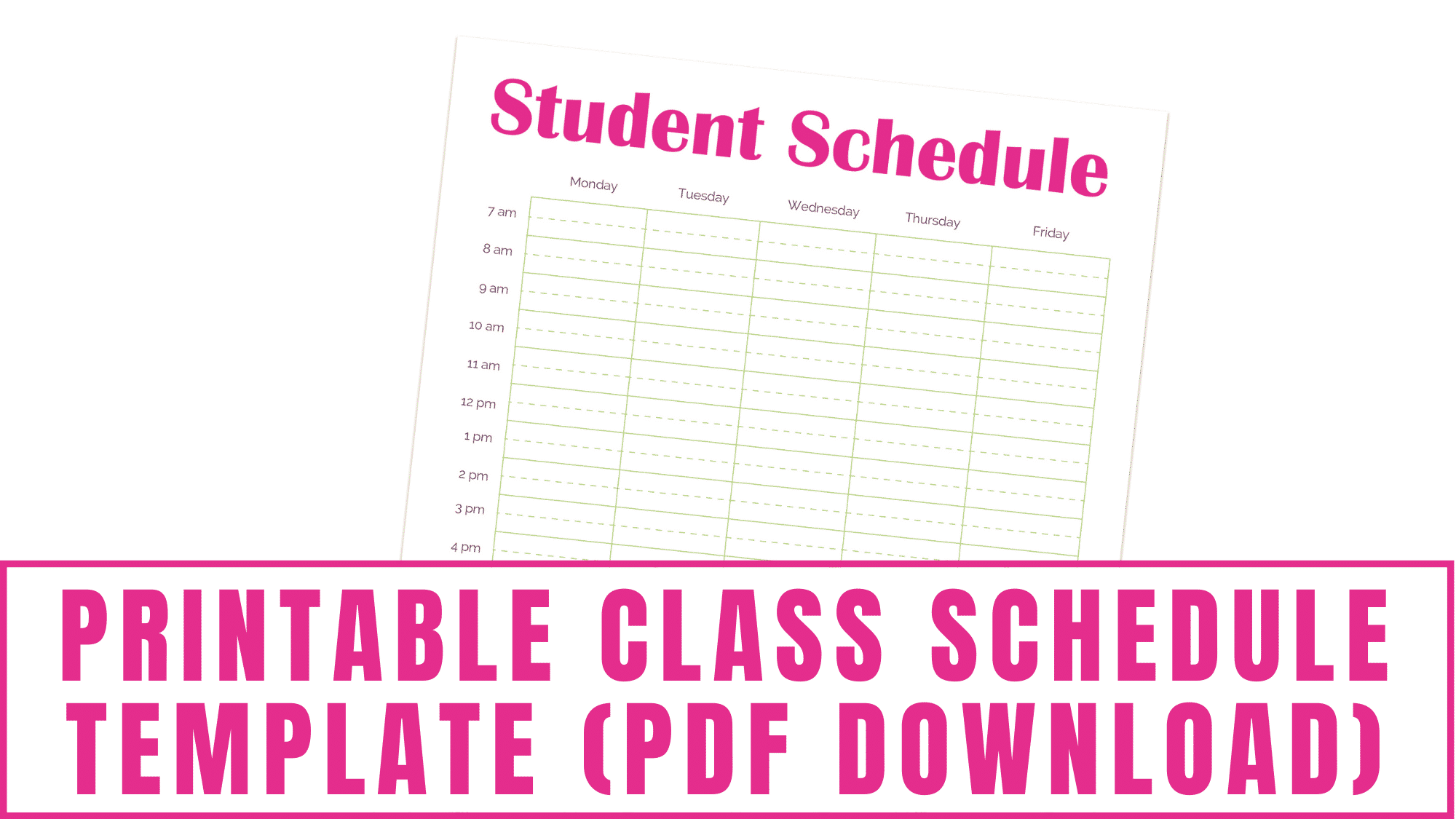 This printable class schedule template PDF download will help you keep on top of your school assignments, appointments, extracurricular activities and more.