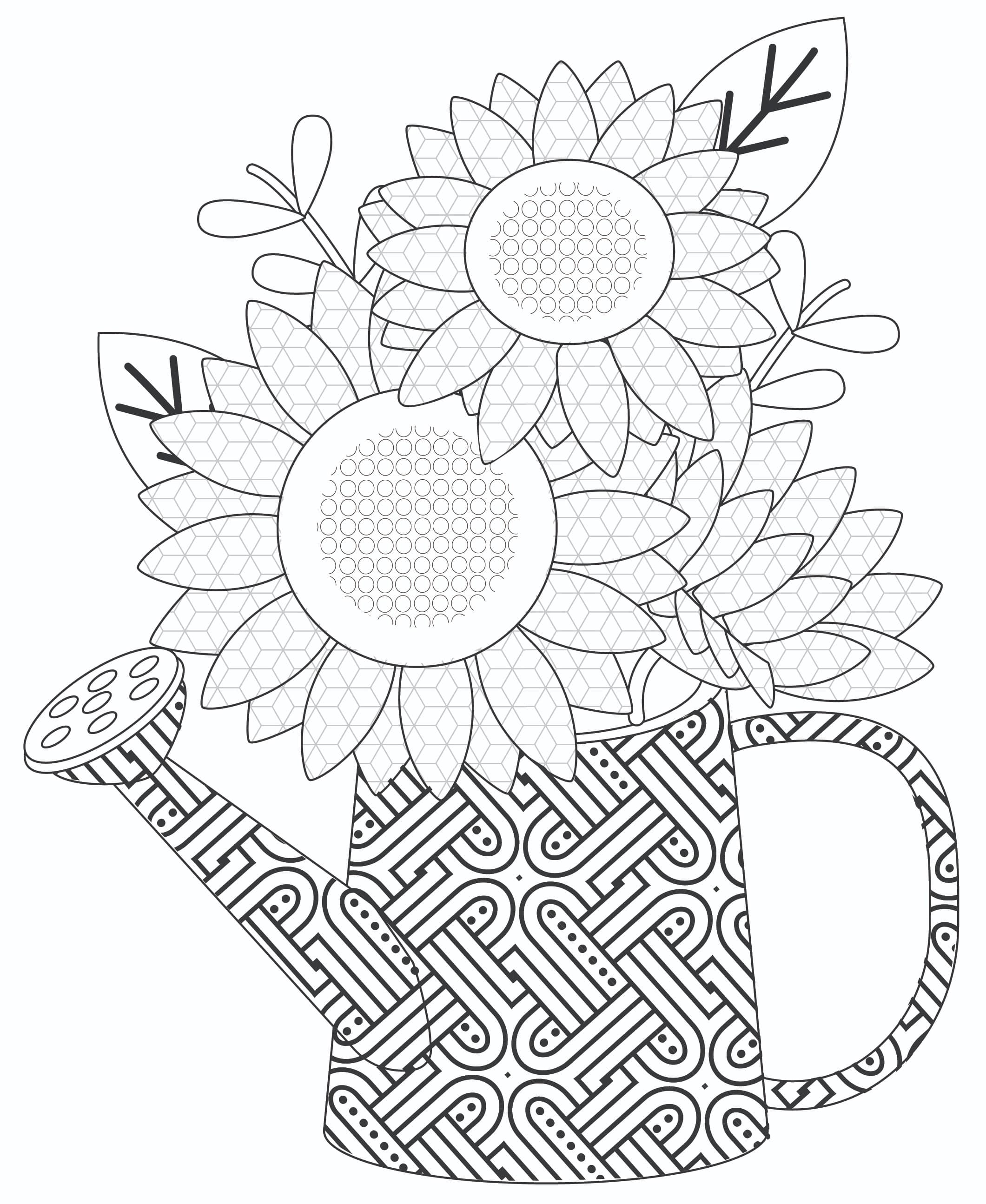This intricate sunflower bouquet in a watering can makes easy flower coloring pages for adults!