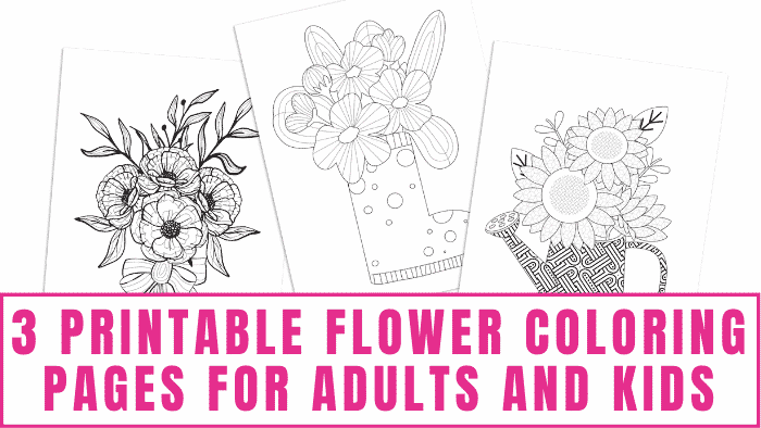 Are you in search of adult coloring pages? These printable flower coloring pages for adults are a fun way to help you relax and express your creativity. Kids will love them too!
