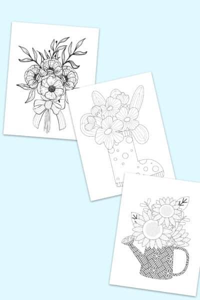 printable flower coloring pages for adults kids