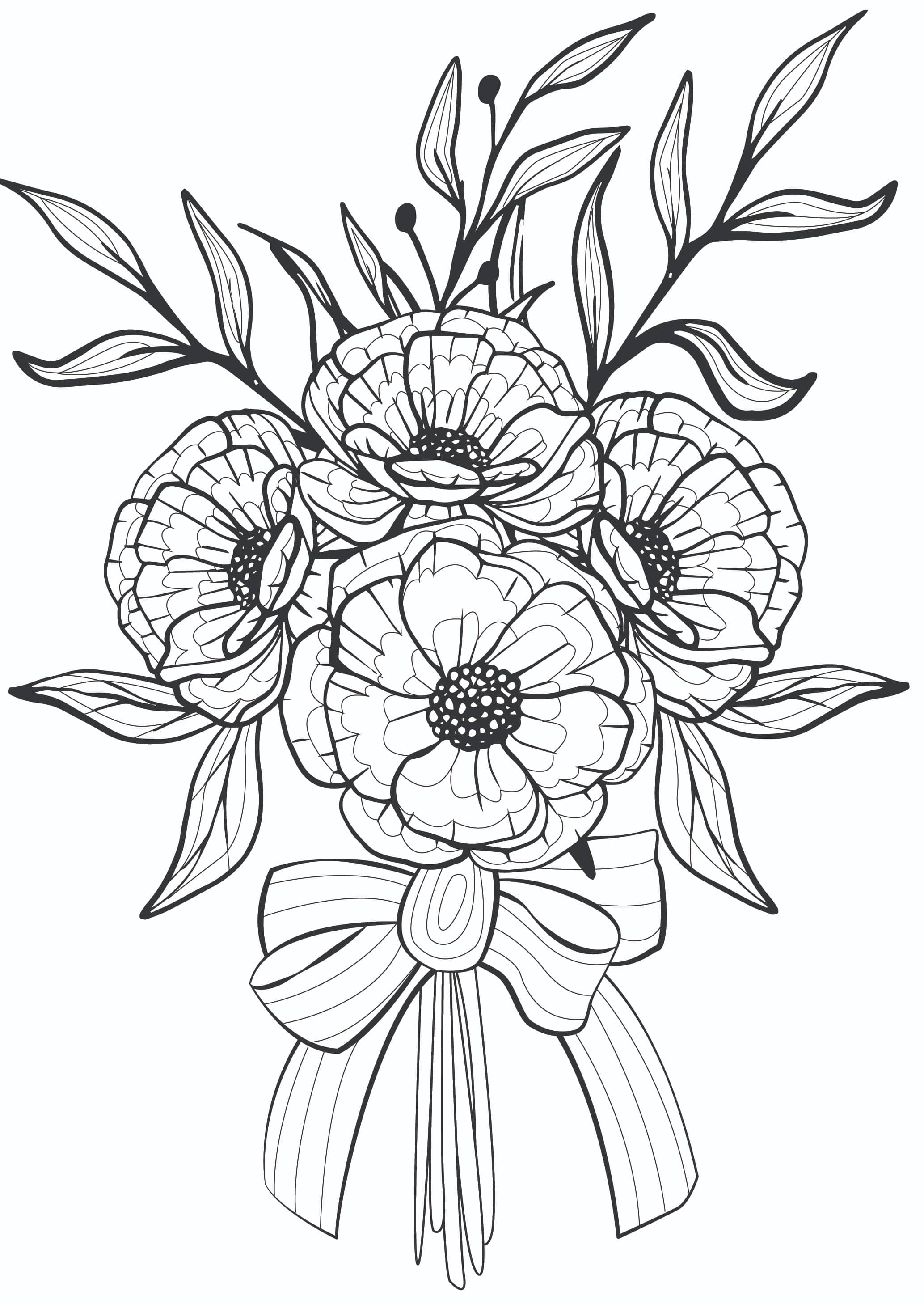 Printable flower coloring pages for adults, like this bouquet of flowers, can be used to add color to your every day!
