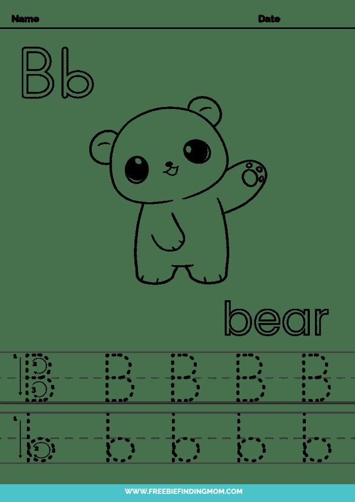 printable kindergarten letter worksheets B kindergarten letter tracing worksheets