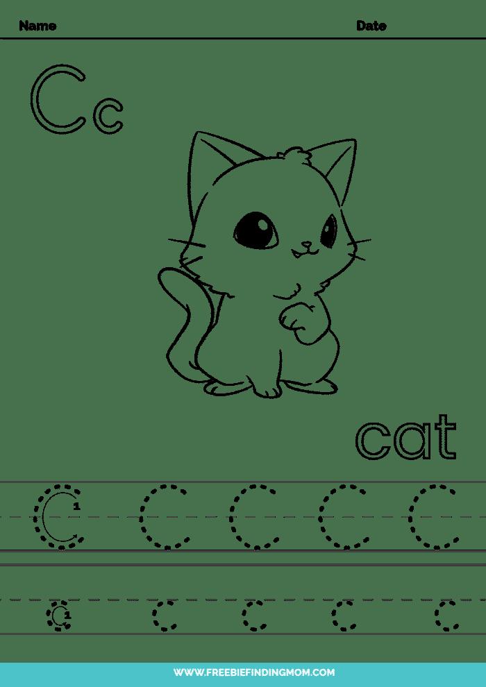 printable kindergarten letter worksheets C kindergarten letter tracing worksheets