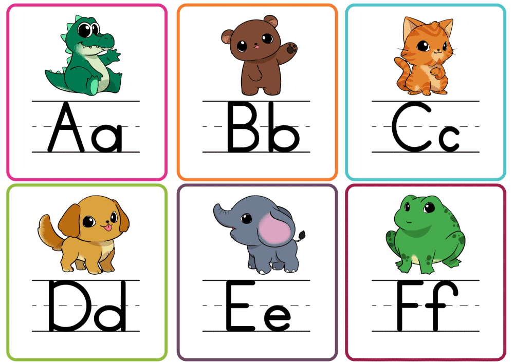 These printable letter flashcards PDF A-F in color make learning more fun especially if you use them to play a letters matching game.