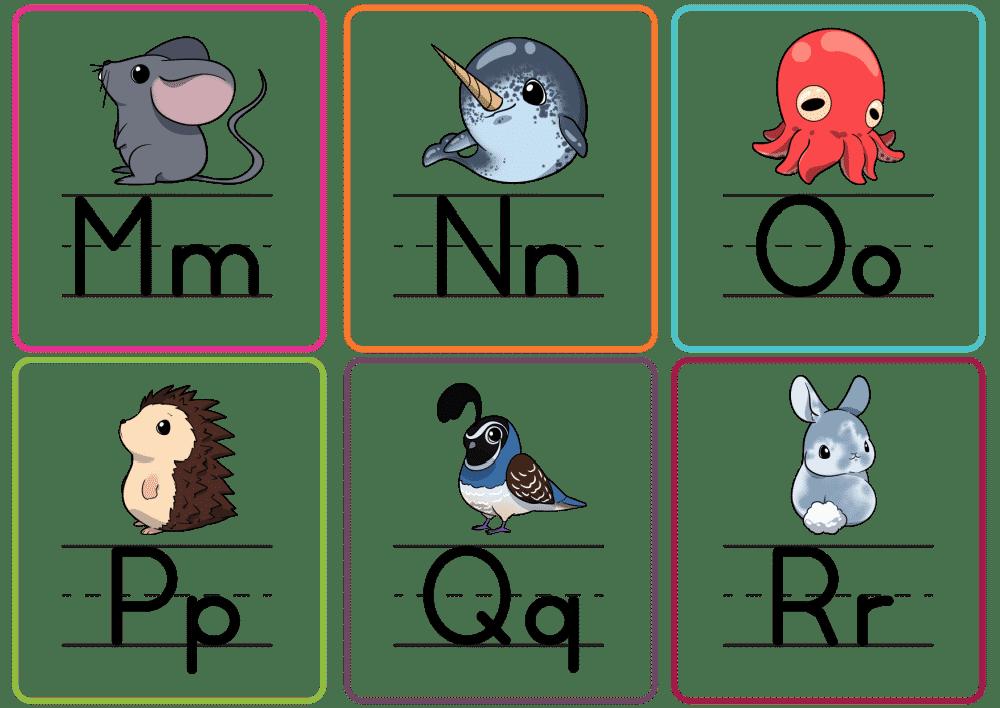 printable letter flashcards PDF M-R color