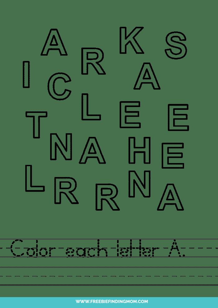 printable letter recognition worksheets PDF letter A recognition worksheets