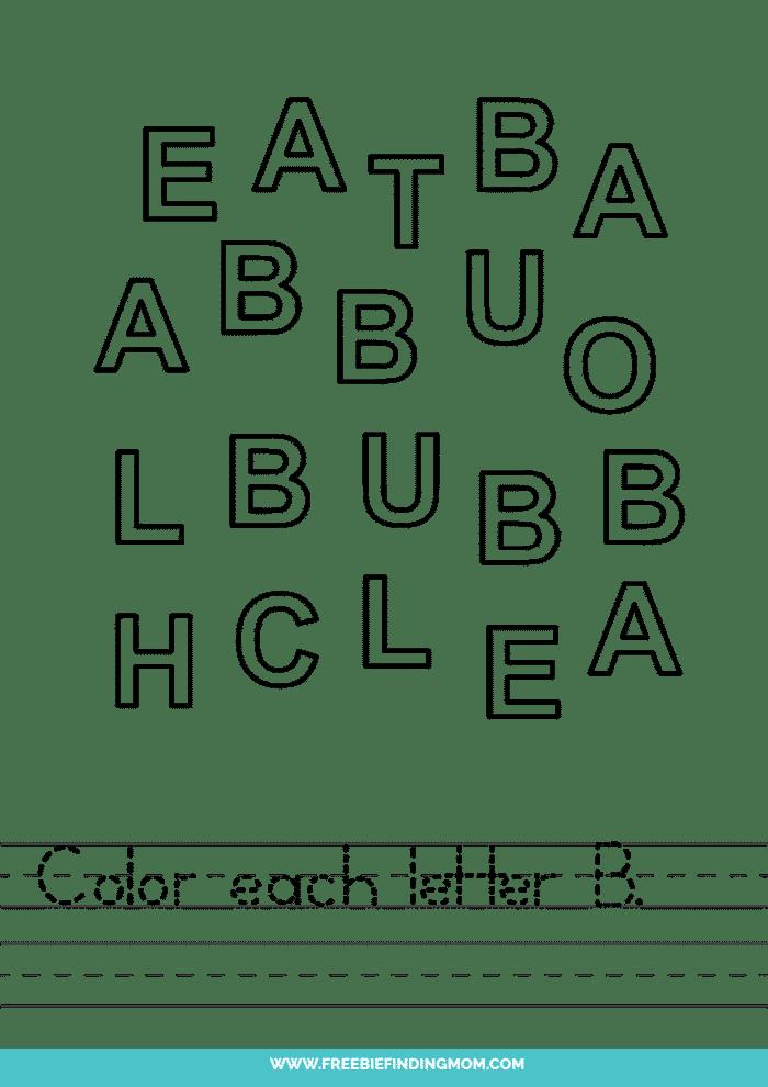 printable letter recognition worksheets PDF letter B recognition worksheets