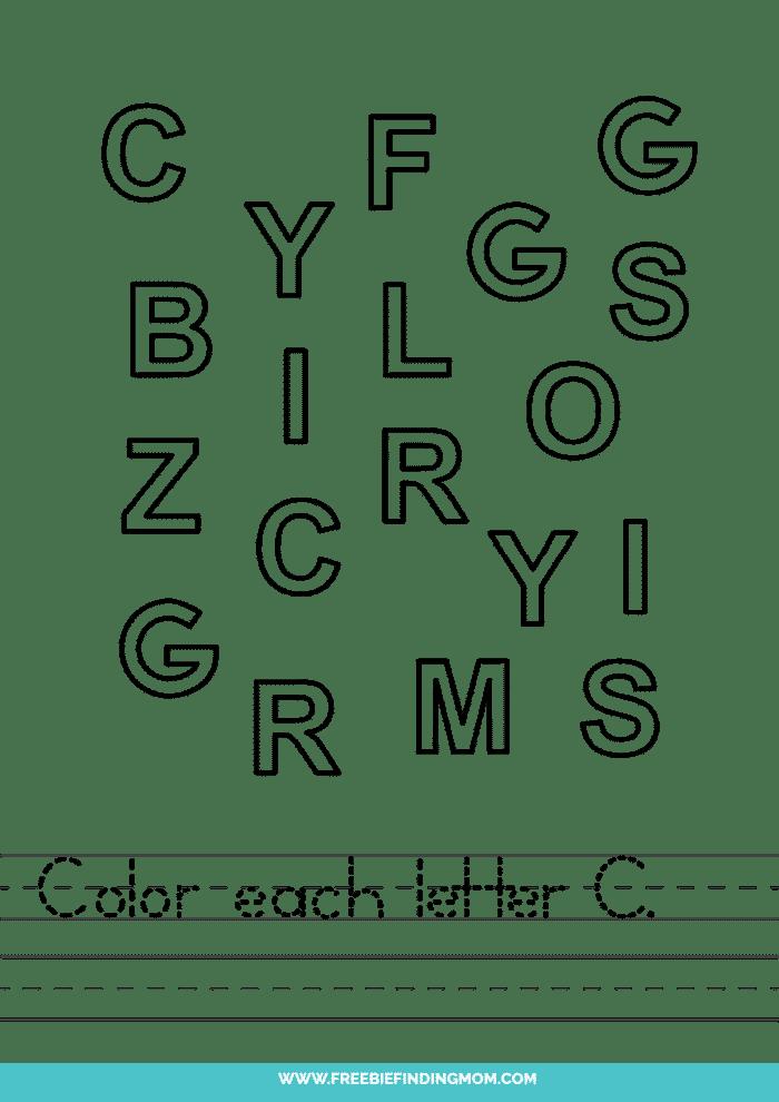 printable letter recognition worksheets PDF letter C recognition worksheets