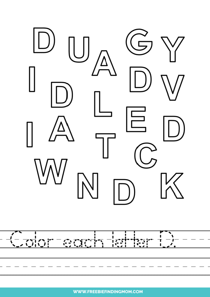 printable letter recognition worksheets PDF letter D recognition worksheets