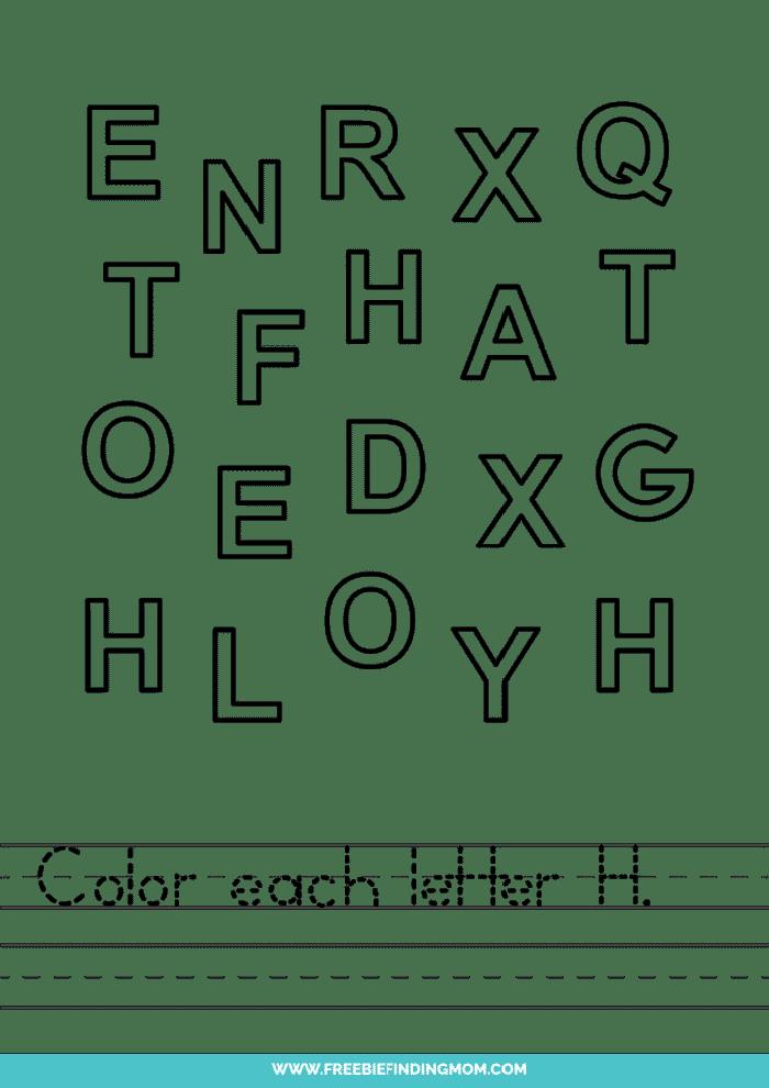 printable letter recognition worksheets PDF letter H recognition worksheets