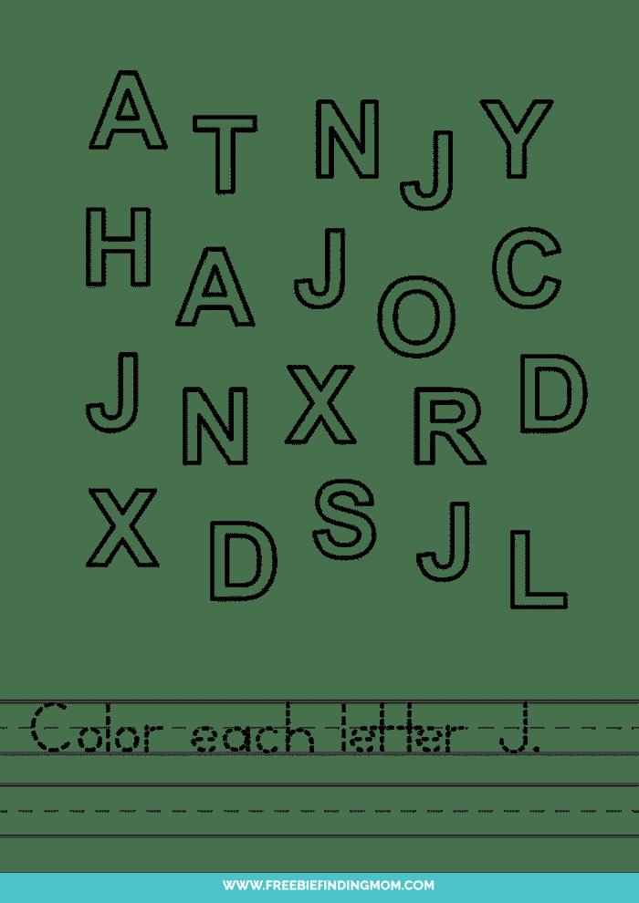 printable letter recognition worksheets PDF letter J recognition worksheets