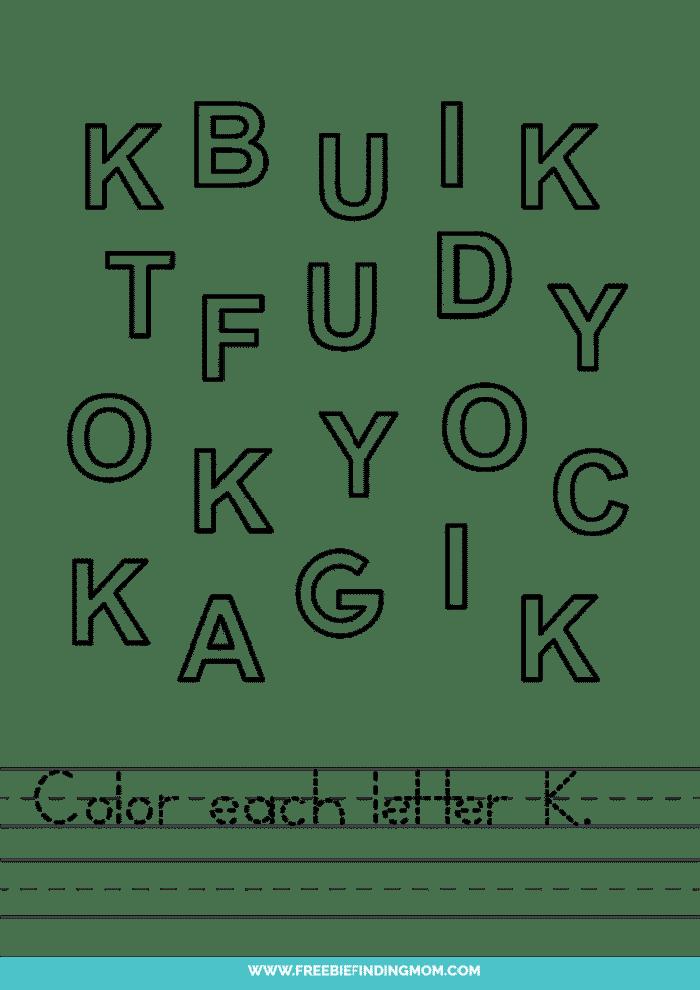 printable letter recognition worksheets PDF letter K recognition worksheets