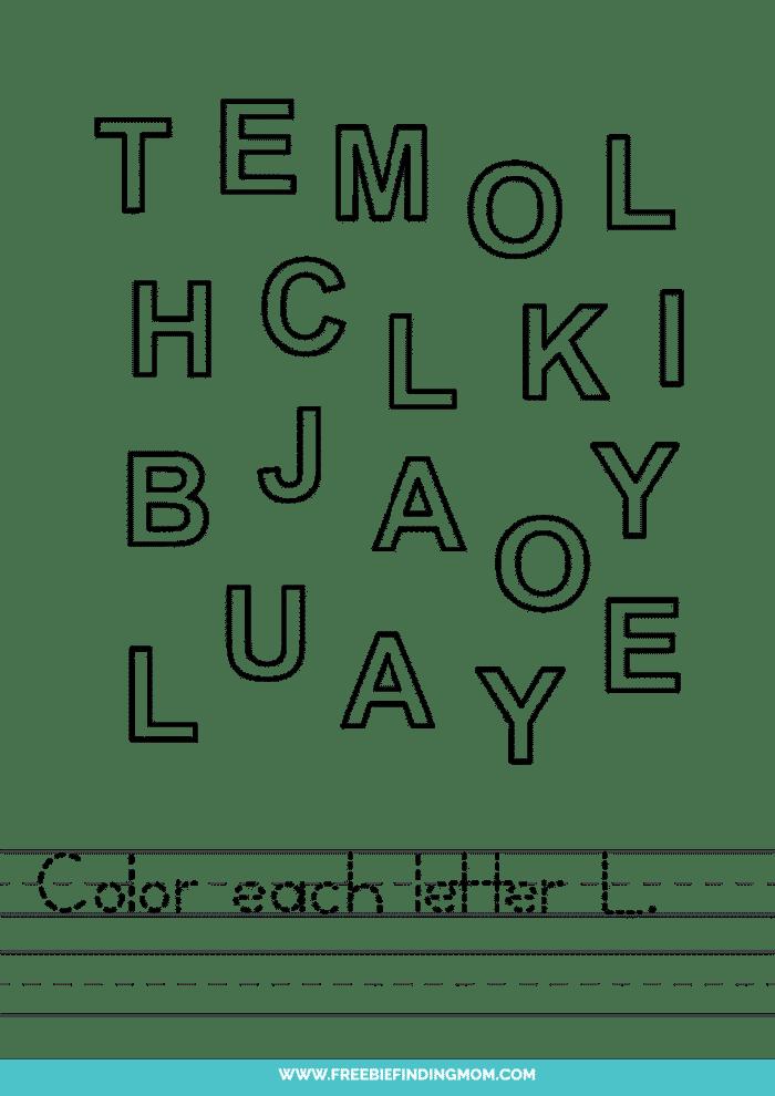 printable letter recognition worksheets PDF letter L recognition worksheets