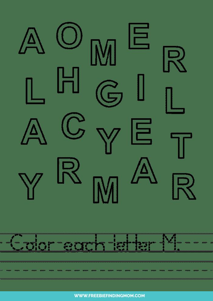 printable letter recognition worksheets PDF letter M recognition worksheets