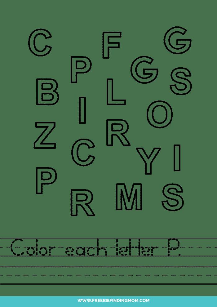 printable letter recognition worksheets PDF letter P recognition worksheets