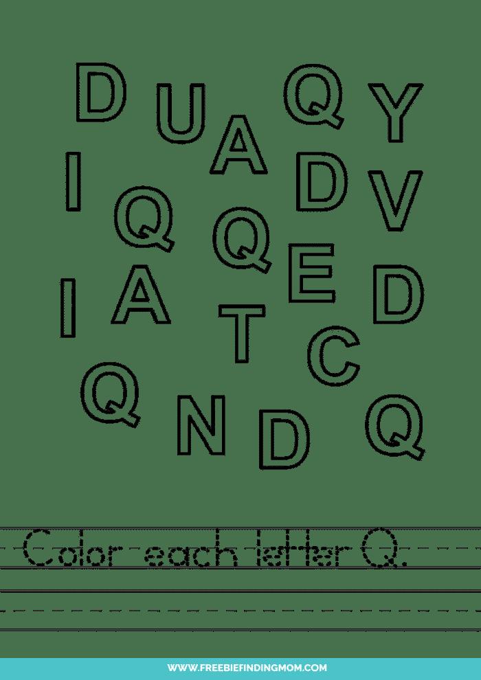 printable letter recognition worksheets PDF letter Q recognition worksheets