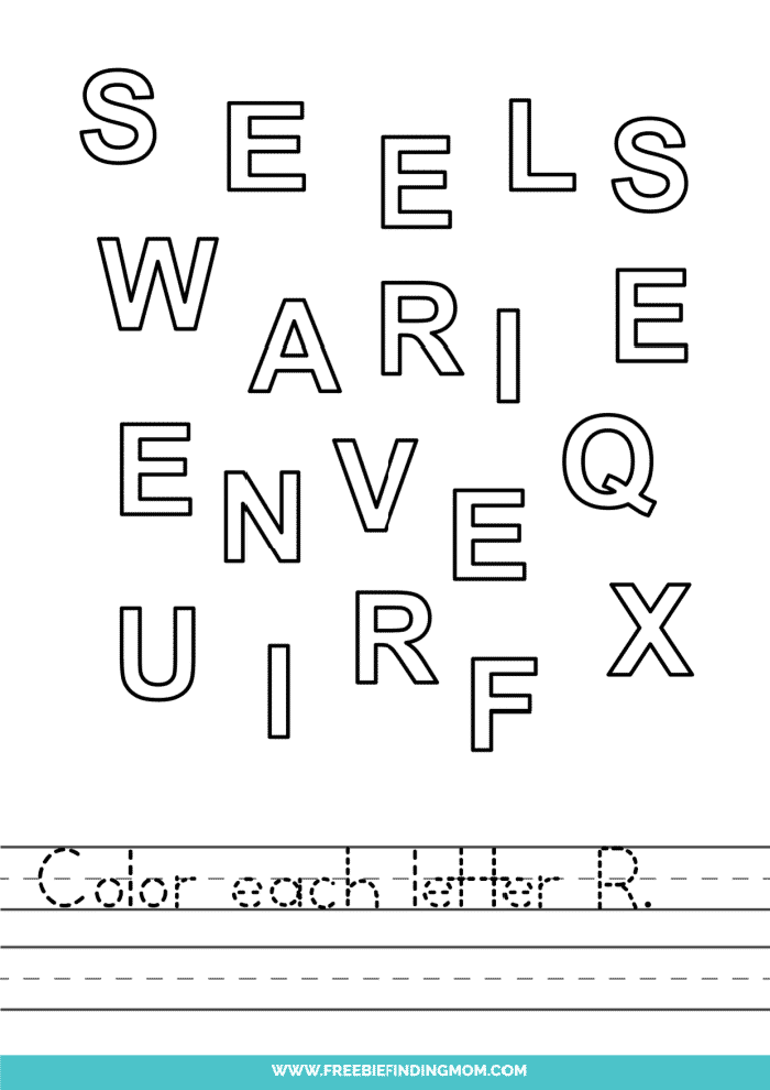 printable letter recognition worksheets PDF letter R recognition worksheets