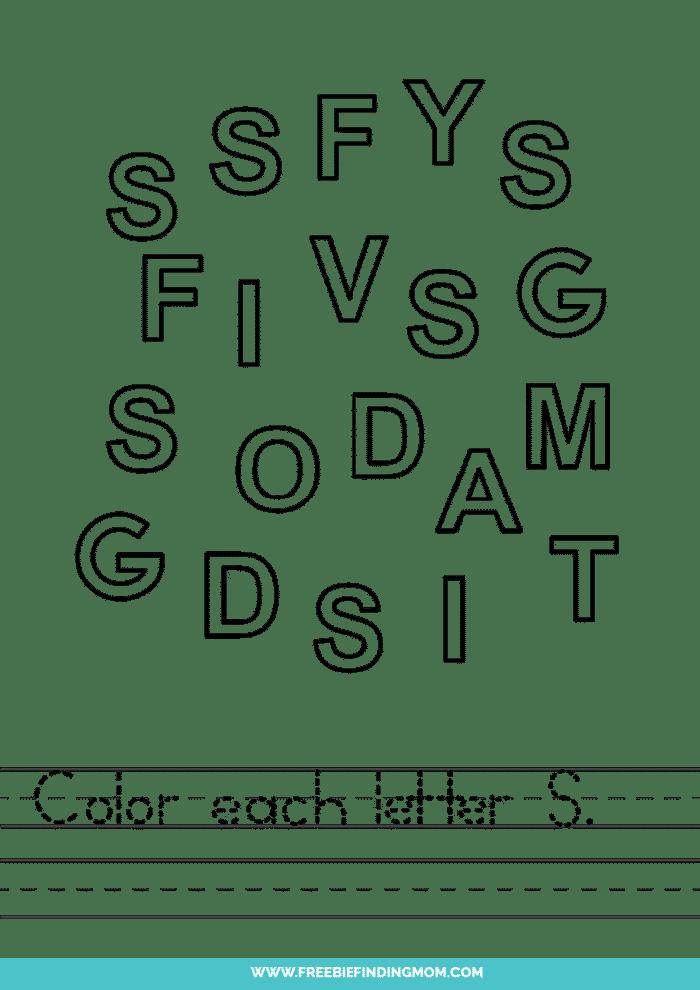 printable letter recognition worksheets PDF letter S recognition worksheets