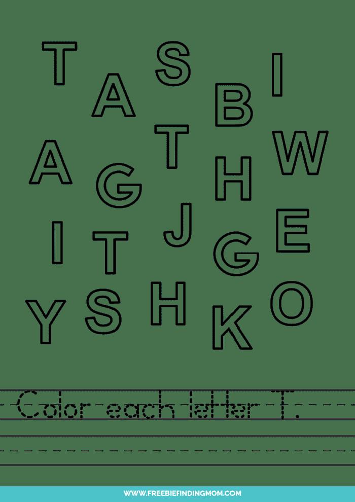 printable letter recognition worksheets PDF letter T recognition worksheets