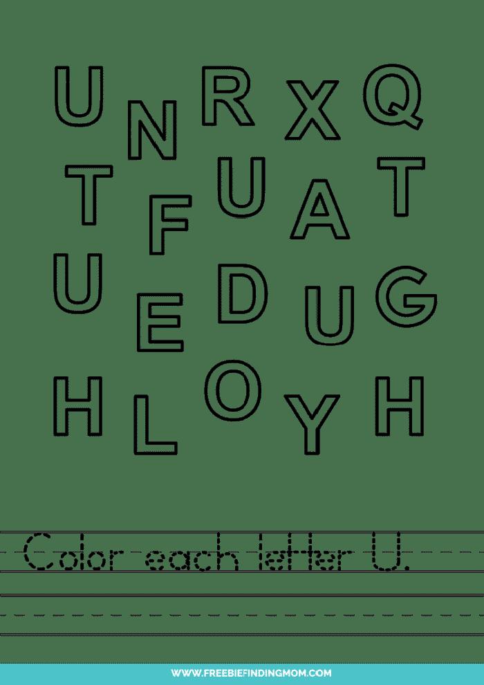 printable letter recognition worksheets PDF letter U recognition worksheets