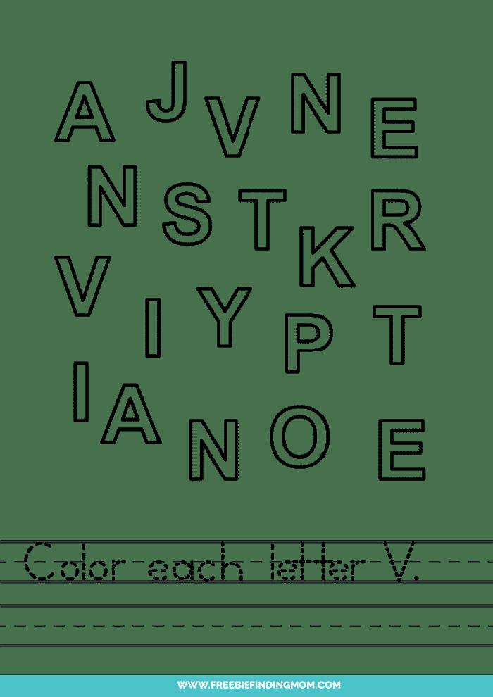 printable letter recognition worksheets PDF letter V recognition worksheets