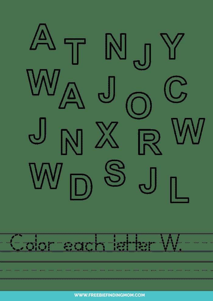 printable letter recognition worksheets PDF letter W recognition worksheets