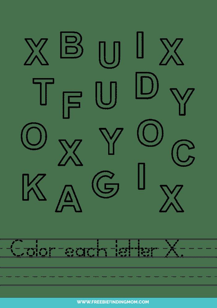 printable letter recognition worksheets PDF letter X recognition worksheets